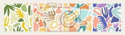 Plakat Kolekcja nowożytnych abstrakcjonistycznych bezszwowych wzorów z naturalnymi kolorowymi kształtami lub kleksami na białym tle. Modny ilustracji wektorowych zbieranina w stylu płaski do pakowania papier