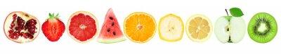 Plakat Kolekcja owocowi plasterki odizolowywający na bielu