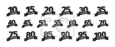 Plakat Kolekcja pojedyncze numery rocznica logo z ilustracji wektorowych wstążki