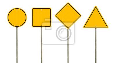 Plakat Kolekcja pusty żółty znak drogowy lub puste znaki drogowe na białym tle. Ścieżka przycinająca obiekty