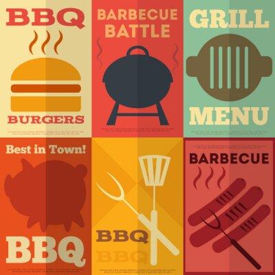 Plakat Kolekcja retro plakaty grillowania