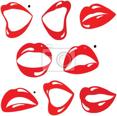 Plakat Kolekcja Sexy czerwone usta i usta kreskówka wektor