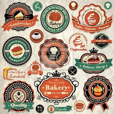 Plakat Kolekcja starych żywności etykiet, odznak i ikon