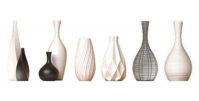 Plakat Kolekcja wazonów ceramicznych Tom. 1 na białym tle, renderowania 3d