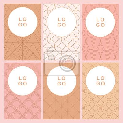 Kolekcja wizytówek wektor w stylu art deco z różowe kolory nago