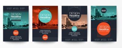 Plakat Kolekcja współczesnego plakatu szablonu arkusza okładki ulotki broszury z elementami graficznymi kształcie okręgu i miejsca na tle zdjęć