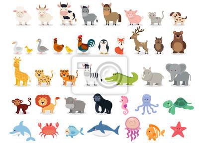 Plakat Kolekcja zwierzęta ładny: zwierzęta gospodarskie, dzikie zwierzęta, zwierzęta marina na białym tle. Szablon projektu ilustracji