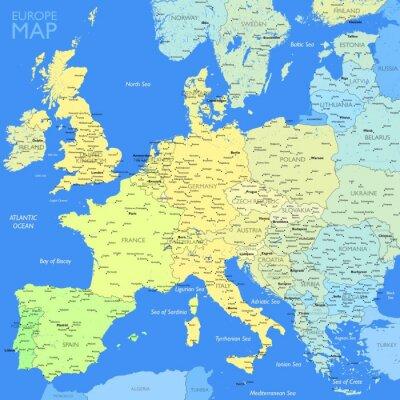 Plakat Kolor Mapa Europy