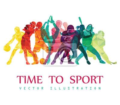 Plakat Kolor tła sportowe. Piłka nożna, koszykówka, hokej, pole, golf, tenis. Ilustracji wektorowych