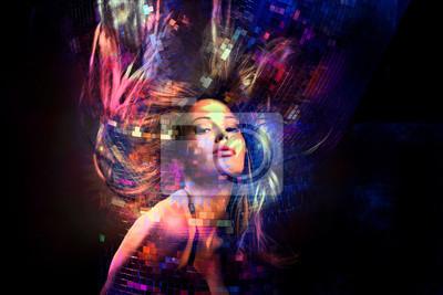 Plakat kolorowa impreza taneczna z włosami w ruchu