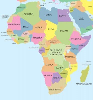 Plakat Kolorowa mapa polityczna Afryki