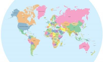 Plakat Kolorowa mapa polityczna świata wektora