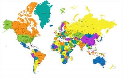 Plakat Kolorowa mapa świata politycznego z wyraźnie oznakowanych, oddzielnych warstwach. Ilustracji wektorowych.
