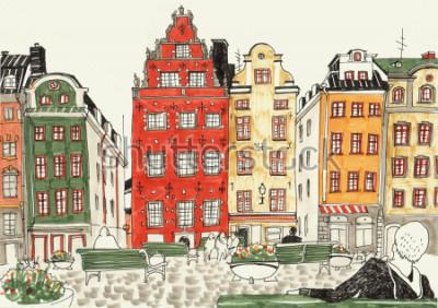 Plakat Kolorowa ręka rysująca ilustracja Stockholm domy, uliczny nakreślenie europejski miasto. Atrament i markery.