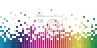 Plakat Kolorowa tęcza kwadratowych mozaiki.