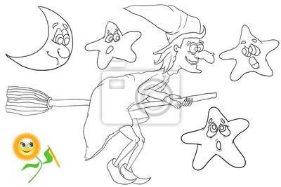 Plakat Kolorowanka Witch Latania Na Miotle Cartoon Latania Na