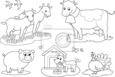 Plakat Kolorowanki Dla Dzieci Zwierzeta Hodowlane Krowy Kozy