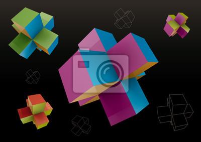 Kolorowe abstrakcyjne kształty geometryczne z kostki