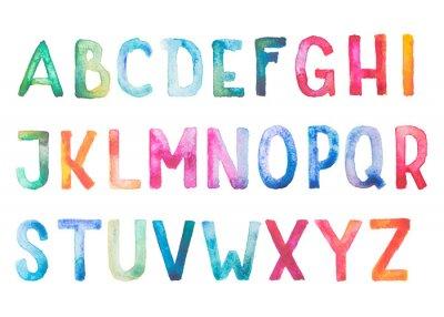 Plakat Kolorowe akwarela akwarela typ czcionki ręcznie wyciągnąć rękę