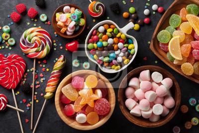 Plakat Kolorowe cukierki, galaretki i marmolady