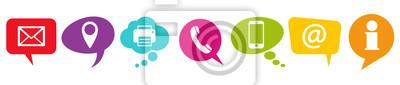 Plakat kolorowe dymki z ikonami komunikacji