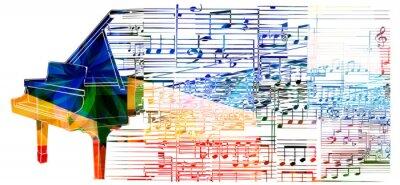 Plakat Kolorowe fortepian projekt. Muzyka w tle