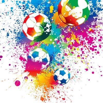Plakat Kolorowe futbolowe na białym tle