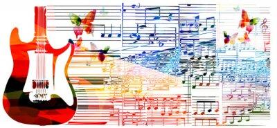 Plakat Kolorowe gitara projekt. Muzyka w tle