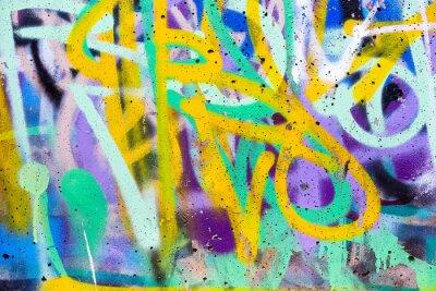 Plakat Kolorowe graffiti mur z Spraypaint