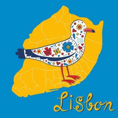 Plakat Kolorowe karty z mapą Lizbony i mewa