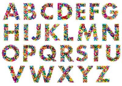 Plakat Kolorowe litery alfabetu wielkie litery