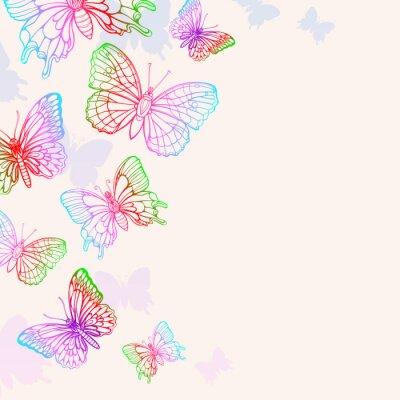 Plakat Kolorowe Motyle Tło