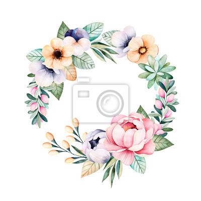 Kolorowe Pastelowe Kwiatu Wieniec Z Róż Kwiaty Liście Soczyste Plakaty Redro