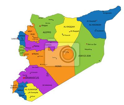 Plakat Kolorowe Syria Polityczna Mapa Wyraznie Oznakowanych