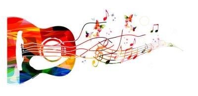 Plakat Kolorowe tło muzyczne z gitarą