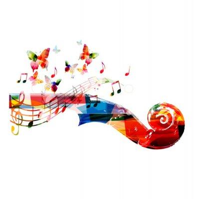 Plakat Kolorowe Wiolonczela pegbox z motyli