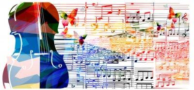 Plakat Kolorowe wiolonczela projektu z motyli