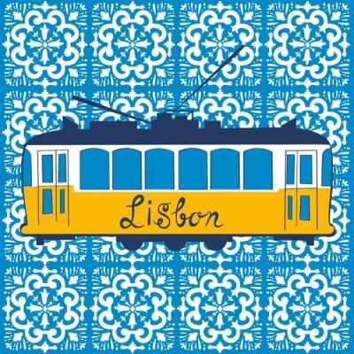 Plakat Kolorowych ilustracji tradycyjnym tramwajem Lizbony