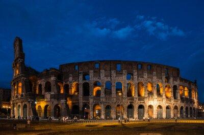 Plakat Koloseum w nocy w Rzymie, Włochy
