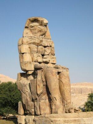 Plakat Kolosy Memnona poza Luxor, Egipt