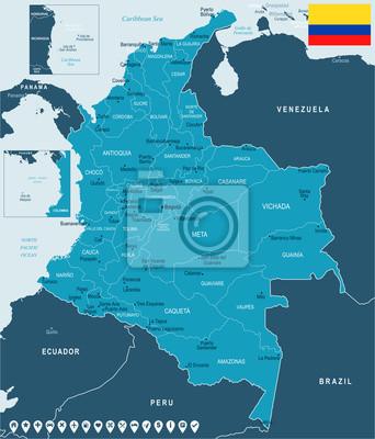 Plakat Kolumbia - mapa i flaga - Szczegółowa Wektorowa ilustracja