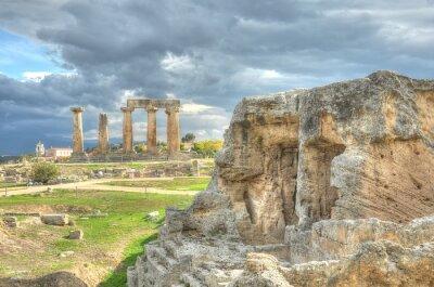Plakat Kolumny i ruiny na wyspie Delos, Grecja