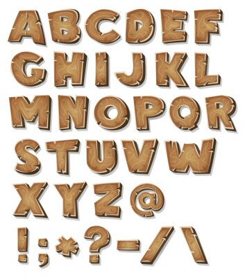Plakat Komiks Drewno Alphabet