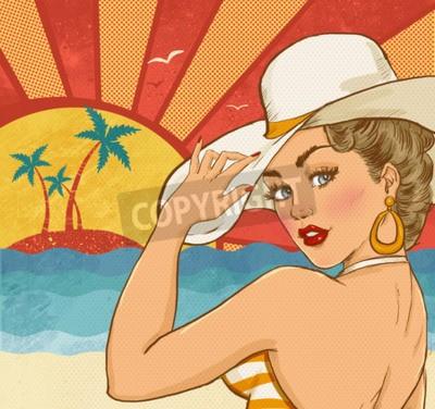 Plakat Komiks ilustracja dziewczyna na plaży. Dziewczynka Pop Art. Zaproszenie na przyjęcie. Hollywood film star.Vintage plakat reklamowy. Plakaty Wakacje. Plakat turystyczny. Sexy kobieta na plaży. Impreza