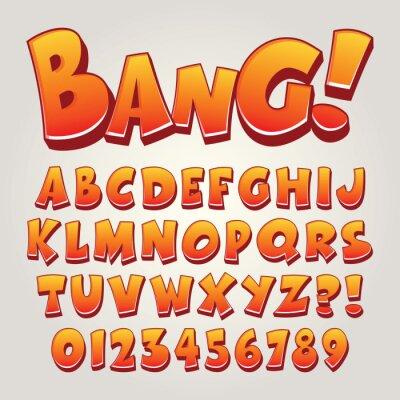 Plakat Komiks Pop Art alfabetu i cyfr, edytowalne eps10 wektor