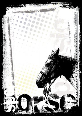 Plakat Koń tle plakatu