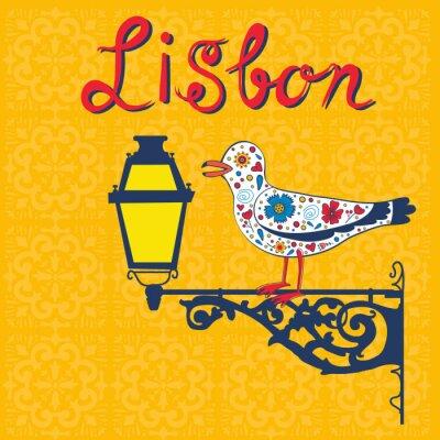 Plakat Koncepcja karty z typowym portugalskim latarnią i mewa