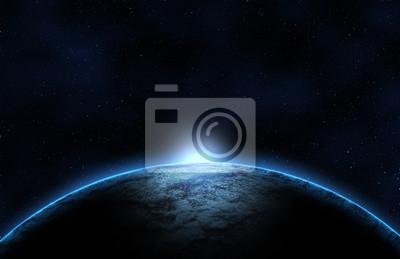 Plakat Koncepcja lub pomysł, planety we wszechświecie Odblaskowe światło Dodać cień