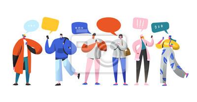 Plakat Koncepcja relacji wirtualnych sieci społecznościowych. Płascy ludzie znaków na czacie przez Internet za pomocą smartfona. Grupa mężczyzny i kobiety z telefonów komórkowych. Ilustracji wektorowych