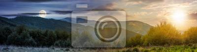 Plakat koncepcja zmiany czasu w Karpatach. panorama ze słońcem i księżycem na niebie. piękny krajobraz z zalesionymi wzgórzami i górą Apetska w oddali.